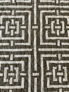 """Jonathan Adler Happy Chic 88""""x90"""" Square Quilt Reversible Brownish Taupe/ Cream"""