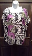 (NWT)Jaclyn Smith Size Small Gorgeous Purple & Black Floral Top Retails @ $21.99