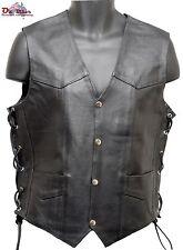 Leather Motorcycle Vest Lace Side - Oz Biker - Size:SMALL