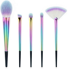 Colourful Makeup Brushes Mermaid Make up Anmor Rainbow Vegan Synthetic Brush Set