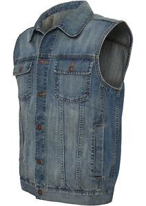 URBAN CLASSICS Herren Denim Weste Jeansweste Jeans Vest Jacke Jeansjacke S-XXL