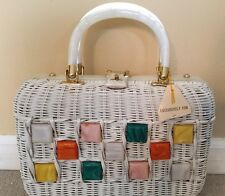 Vintage Wicker Look Lucite Purse Handbag Hand Made in British Hong Kong, NWT