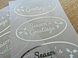 Noël Saisons Salutations Autocollants Argent sur Transparent Étiquettes Cartes