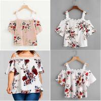 Women Short Sleeve Off Shoulder Lace Slash Neck Floral Blouse Casual Tops Shirt