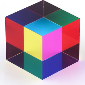 ZhuoChiMall CMY Mixing Color Cube, 40mm (1.57 inch) Acrylic Cube Prism, CMYcube