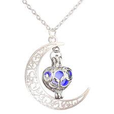 Brillan En La Oscuridad Luna Colgante Collar de encanto de Joyas De Plata