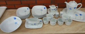 ROYAL COLLECTION WHITE PORCELAIN WITH BLUE FLOWERS PART DINNER SET