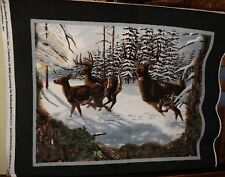 Three Deer Snow Woods Fleece Fabric Panel -- NEW