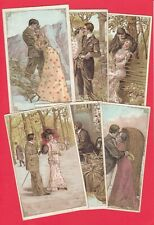More details for seven old embossed vintage size postcards lovers couple man women costumes