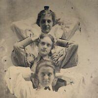 (2) Antique Tintype Photographs Victorian Beautiful Women Sisters Unique Pose