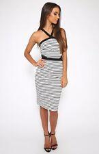 BNWT halter neck black and white stripe cut out midi dress peppermayo showpo