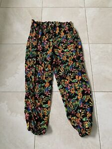 Ladies Tropical Floral Look Multicoloured Dressy Summer Trousers Size 16 TU