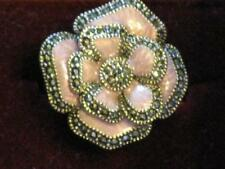 Beautiful Mother of Pearl Flower Ring, Lilac w/ CZ trim