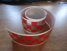 Rojo + Chrome Checker Cinta - 4 Pies X 2 In - 3 Plazas / Chequer Stripe