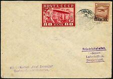170/Zeppelin Russland Russia 1930 Russlandfahrt Brief MiF 391 A Si 85 Ba