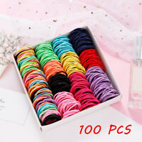 100Pcs Kids Girl Elastic Rope Hair Ties Ponytail Holder Rubber Band Hairband