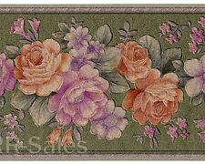 Satin Sheen Green Texture Rose Floral Vintage Violet Tulip Wallpaper Wall Border