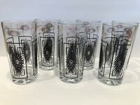 Vintage Retro Drinking Glasses Set of 6 Gold & Black Atomic Starburst MCM