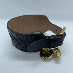 Alexander McQueen Black Leather Bracelet Bangle Black Skull Logo Plate Charm Box