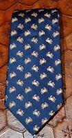 TOMMY HILFIGER Navy Blue Gold Orange Crab Print 100% Silk Neck Tie Made in USA