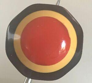 Vintage Octagonal  3-Color Target Bakelite Button