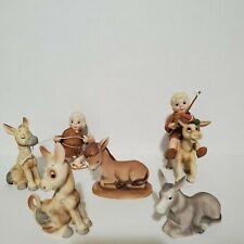 """Vintage Donkey Figurines Enesco """"Little Bible Friends"""" & Lefton"""