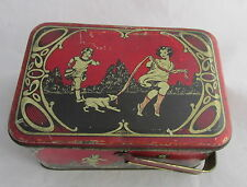 Vintage Tin Litho Handled Lunch Box Red & Black Deco Girls Dog Blowing Bubbles