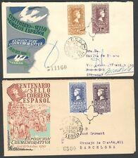 ESPAÑA - AÑO 1950 - EDIFIL 1075/6-79/0 - CENTENARIO DEL SELLO - SOBRE PRIMER DÍA