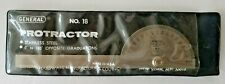 Protractor General Tool No18 Round Head Stainless Steel 6 0 180 Degree Usa