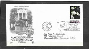 1989 US Artcraft FDC #2347 North Carolina Statehood Bicentennial Addressed