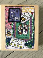 INKADINKADO WOOD RUBBER STAMP SNOWMEN COLLAGE LET IT SNOW