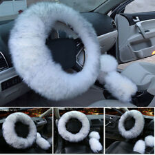 3Pcs/Set Fur Car Steering Wheel Cover Wool Furry Fluffy Thick Winter Essential