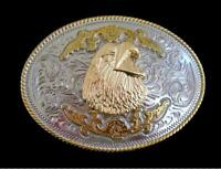 American Bald Eagle Gold and Silver Plated Western Belt Buckle Buckles