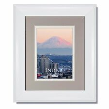Set of 2 - 8x10 Metro White Picture Frame with Oxford Gray/White Mat & Glass