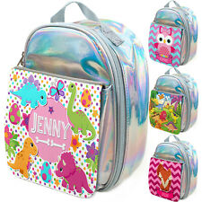 Personalised Girls Animals Lunch Bag Silver School Insulated Box Kids Childrens