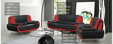 NEW PALERMO FAUX LEATHER 3+2 SEATER SOFA BLACK RED WHITE CREAM BROWN