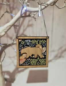 Christmas Tree Decoration Bauble Made From William Morris Strawberry Thief Bear
