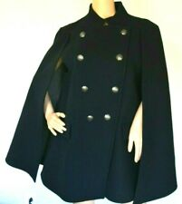 $1,725 Pierre Balmain Military Navy Blue Wool Jacket Cape Coat US 10 12 / FR 44