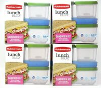 Rubbermaid Sandwich Kit Lunch Blox w/ Side and Snack Containers Blue Ice 4 Kits