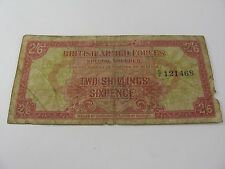 Rare 1st Series British Armed Forces Special Voucher Note Two Shillings Sixpence