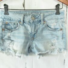 American Eagle Shortie Shorts Denim Jeans 0 Light Destroyed Eyelet Lace Pockets