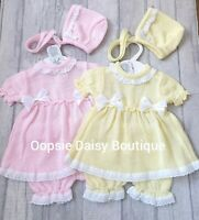 Baby Girls Lemon & Pink Spanish Knitted Dress Bloomers & Bonnet Sets ☆