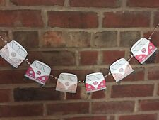 "VW Camper Van Bunting 60"" 6 Individual Card Vans Orange"