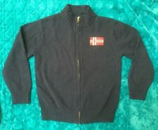 NWOT Gymboree Size M 7-8 Navy Blue Nordic Flag Zip Cardigan Sweater