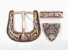 Western Rodeo Flower Engraved Gold 2-Tone Belt Buckle Set Fit 30mm Belt Straps
