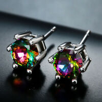 Multi-color Gemstone Wedding Ear Studs Drop Dangle Earrings 925 Silver Jewelry