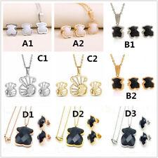 Fashion Bear Jewelry Women 18k Gold Black Agate Crystal Necklace Earrings Set