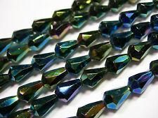 25 Green Iris Czech Glass Faceted Teardrop Beads 10x7mm