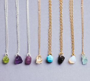 Raw Natural Birthstone Sterling Silver Gold Filled Necklace Gemstone Crystal UK