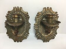 """2 Vintage Hand Forged Copper Metal Sconce Candle Holder UNITED ARAB REPUBLIC 8"""""""